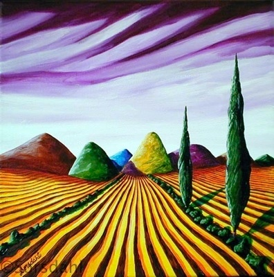 Amber Fields Under Lavender Skies III