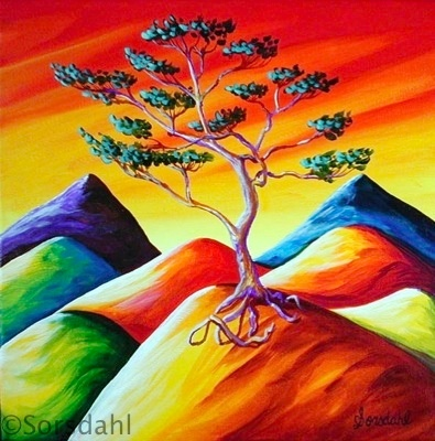 Bonsai Tree of Life on Mountain Top
