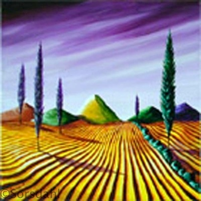 Cypress Under Lavender Skies